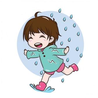 Linda chica para ser feliz en la temporada de lluvias
