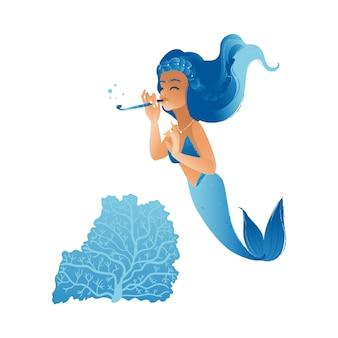 Linda chica sirena con cabello azul nadando en el mar tocando una flauta
