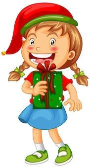 Linda chica con sombrero de navidad y sosteniendo una caja de regalo