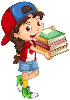 Linda chica sosteniendo libros