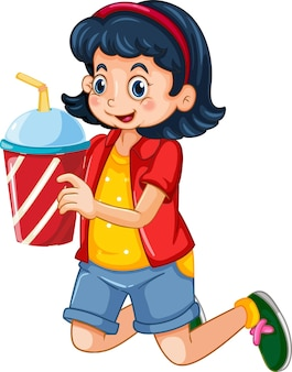 Una linda chica sosteniendo un personaje de dibujos animados de taza de bebida aislado sobre fondo blanco.