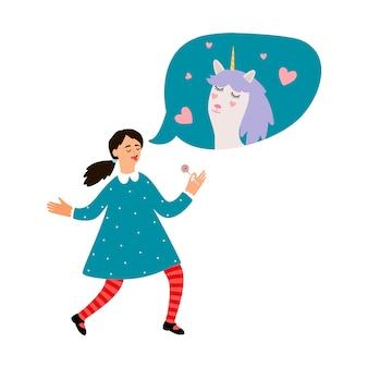 Linda chica sueña con unicornio