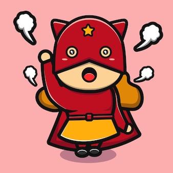 Linda chica de superhéroe de dibujos animados