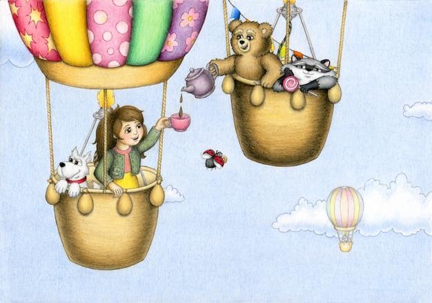 Linda chica y sus amigos animales viajan en un globo aerostático en un cielo nublado azul y beben té.
