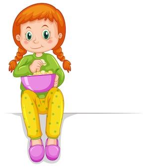 Linda chica con tazón de palomitas de maíz
