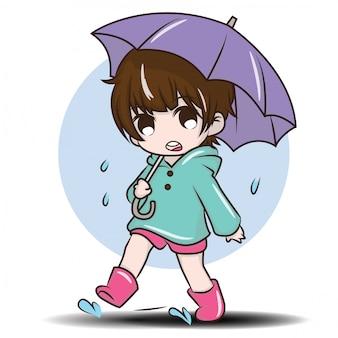 Linda chica durante la temporada de lluvias
