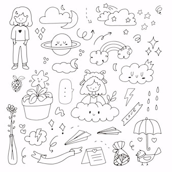 Linda chica del tiempo y conjunto de pegatinas de dibujo a mano abstracto. icono del tiempo con niña, planeta y nube