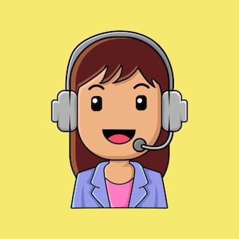 Linda chica trabajando en una caricatura de centro de llamadas