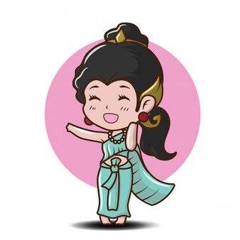 Linda chica en la tradición tailandesa traje de dibujos animados en el amor