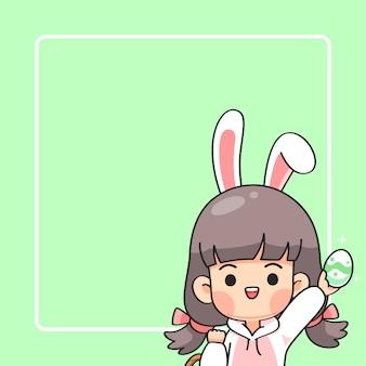Linda chica en traje de conejito con orejas de conejo
