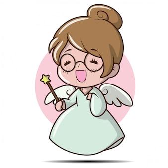 Linda chica en traje de hadas., personaje de dibujos animados