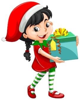 Linda chica en traje de navidad con personaje de dibujos animados de caja de regalo