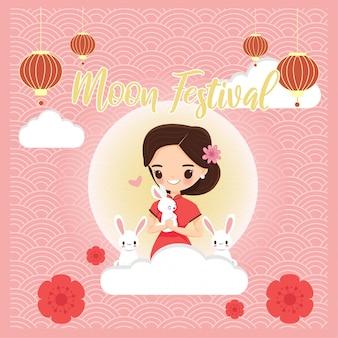 Linda chica en traje tradicional chino con conejo para festival de la luna