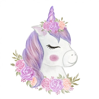 Linda chica unicornio con corona rosa ilustración acuarela