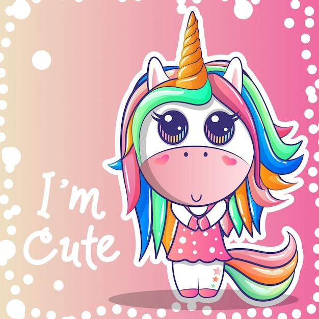 Linda chica unicornio con un fondo rosa