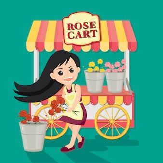 Linda chica vende colorido de rosa del carro rosa. personaje