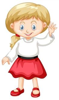 Linda chica vestida con camisa blanca y falda roja