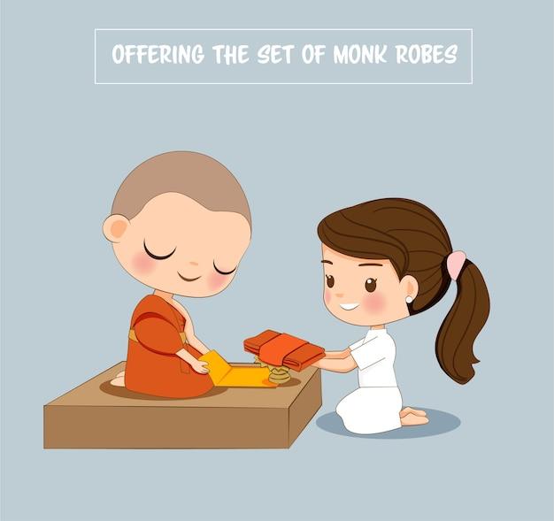 Linda chica en vestido blanco que ofrece el conjunto de dibujos animados de túnicas de monje