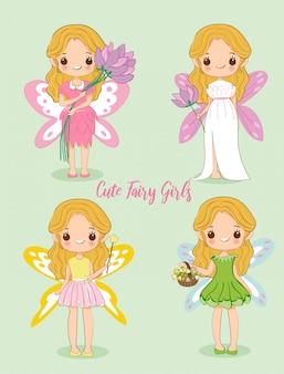Linda chica en vestido de hadas de dibujos animados