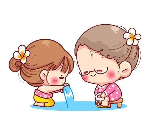 Linda chica vierte agua en las manos de los venerados ancianos signo del festival songkran de la ilustración de dibujos animados de tailandia