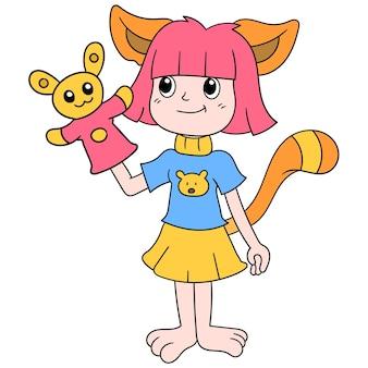 Linda chica viste a gato jugando con muñeca, arte de ilustración vectorial. imagen de icono de doodle kawaii.