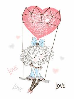 Linda chica volando en un globo en forma de corazón. enamorado.