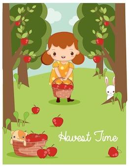Linda chica y animal amigo vector cosecha de manzana en la granja