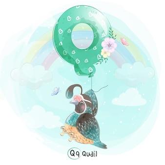 Linda codorniz volando con globo alfabeto-q