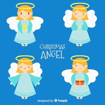 Linda colección de ángeles de navidad en estilo flat
