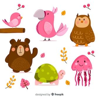 Linda colección de animales con animales rosas