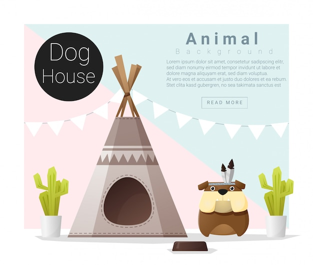 Linda colección de animales casa de perro