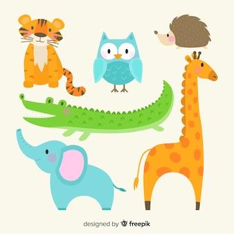 Linda colección de animales dibujados a mano