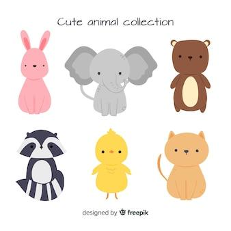 Linda colección de animales con elefante