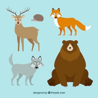 Linda colección de animales de invierno