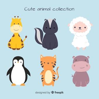 Linda colección de animales con ovejas