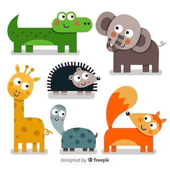Linda colección de animales con zorro