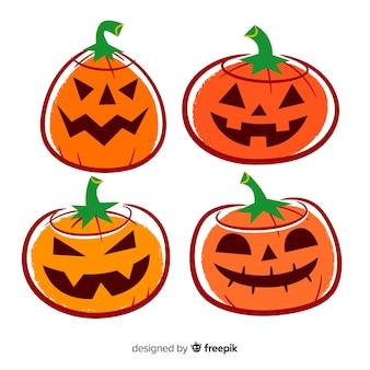 Linda colección de calabaza de hallowen dibujada a mano