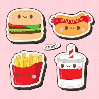 Linda colección de comida kawaii: hamburguesa, salchicha, papas fritas y bebida