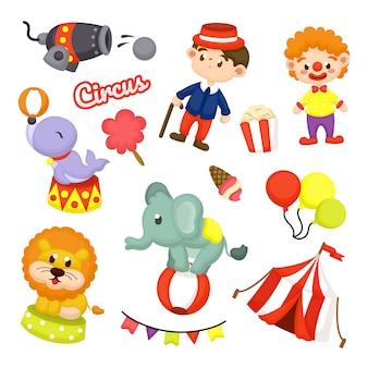 Linda colección de elementos de circo