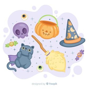 Linda colección de elementos de halloween dibujados a mano