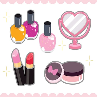 Linda colección de elementos de maquillaje