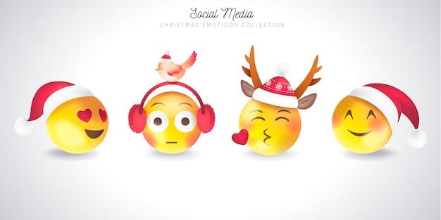 Linda colección de emoticonos navideños
