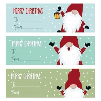 Linda colección de etiquetas navideñas de diseño plano con gnomos.