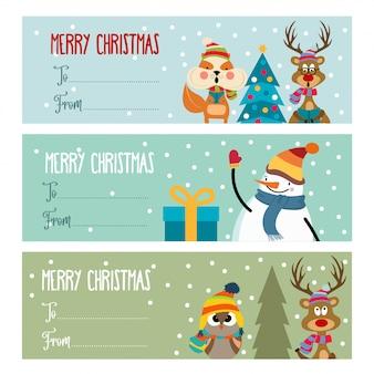 Linda colección de etiquetas navideñas de diseño plano.
