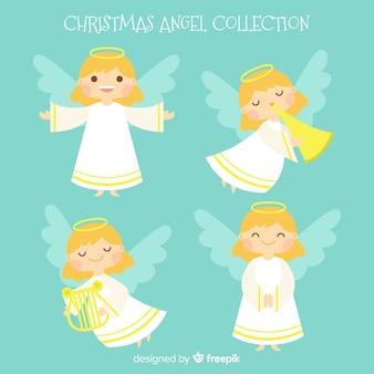 Linda colección flat de ángeles de navidad