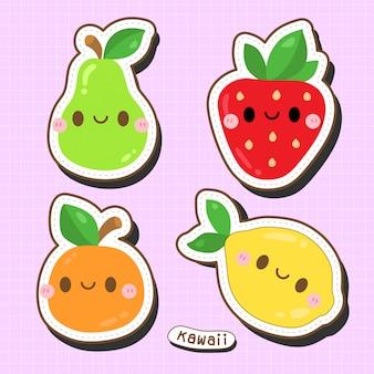 Linda colección de frutas kawaii: fresa, limón, naranja y pera