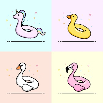 Linda colección de iconos de animales piscina anillo de natación