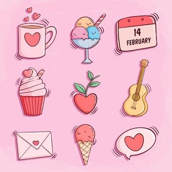 Linda colección de iconos de doodle de san valentín con rosa