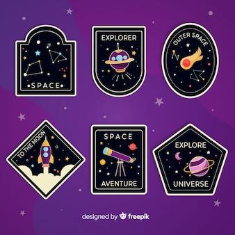Linda colección ilustrada de pegatinas espaciales