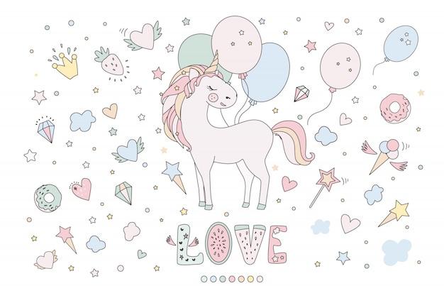 Linda colección mágica con unicornio, arcoiris, alas de hadas, srats y alas